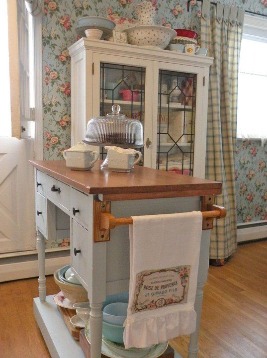 Dh to take desk and repurpose it into island for kitchen for Cottage kitchen island ideas