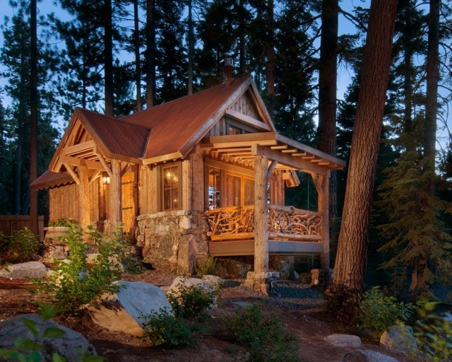 A little log cabin in the woods.  http://www.houzz.com/photos/145244/Exterior-traditional-exterior-san-francisco