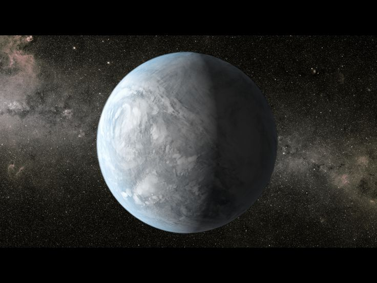 An artist's conception depicts Kepler-62e, a super-Earth planet in the habitable zone of a star smaller and cooler than the sun, located about 1,200 light-years from Earth in the constellation Lyra.