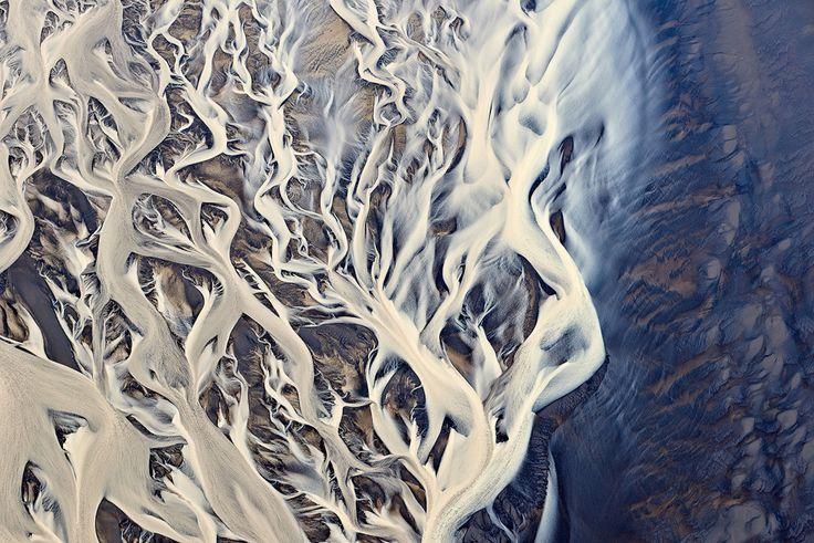 Aerial shot of a river delta in Iceland Emmanuel Coupe 2014. [1247 x 832] #reddit