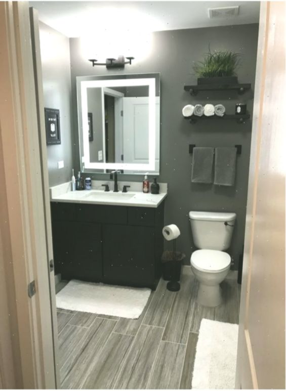 55 Awesome Gray Decorating Ideas For Your Small Bathroom On Budget Bathroom Renovation Diy Small Bathroom Decor Small Bathroom