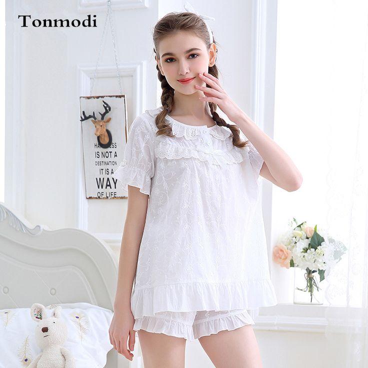 Ladies Summer Pyjamas Short-sleeve Cotton Pajamas Shorts Sexy Lace Sleepwear Pink White Stitch Pajama Set Homewear For Women