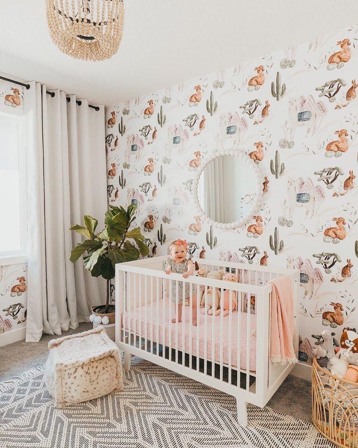 The Alpaca Wallpaper Girl Nursery Room Boho Baby Design