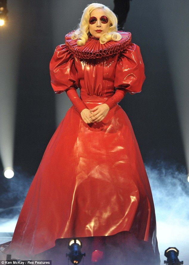 Royal effort: Lady GaGa arrived on stage at last night's Royal Variety Show in a red leather Elizabethan-inspired dress