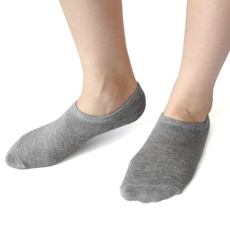 1 Pair Light Gray Moisturizing Socks Dry Skin Silicone Heel Boat Loafer Socks for Ladies