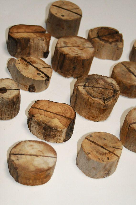 Driftwood Photo Holders Beach Wedding Decor Wood by Seagypsys, $15.00