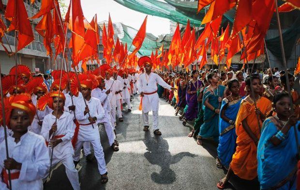 Maharashtrians celebrate during the Gudi Padwa festival in Mumbai