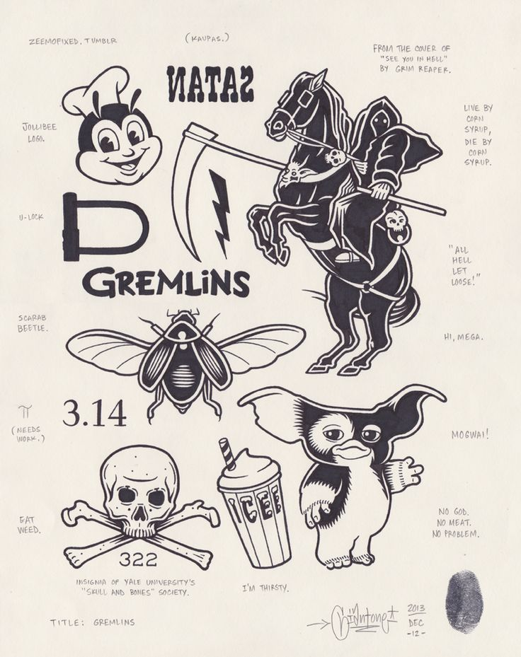 originalgiantcontent:  Gremlins by Mike Giant, 2013.
