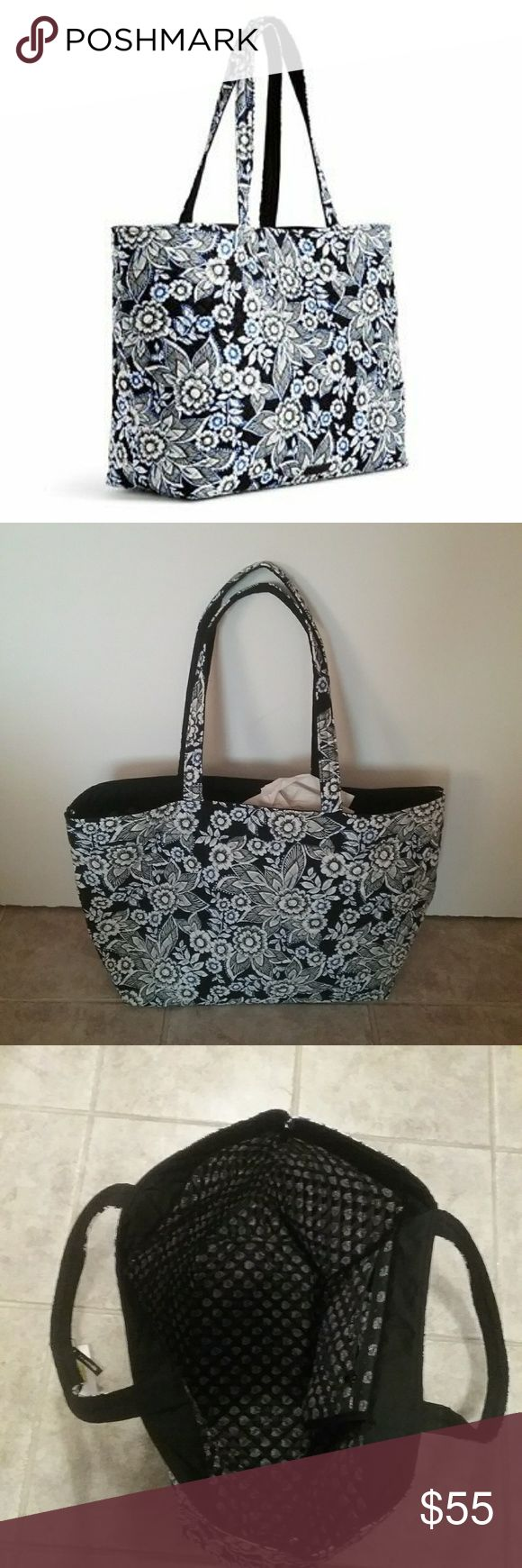 "NWT Vera Bradley Iconic Grand Tote Final Price VERY spacious ""snow lotus"" Tote with comfortable handles,  reversible from printed to patterned.  Cotton, 1 zip pocket, key clip, and 12inch long straps. It measures approximately 17"" long, 14.5"" high, and 7"" deep.  This is a final price item but you can still save 15% when you bundle. Vera Bradley Bags Totes"