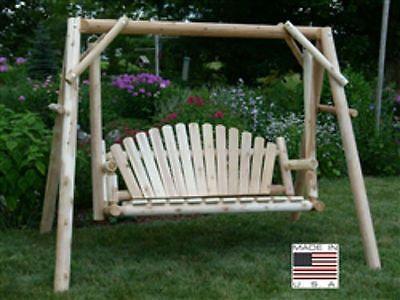 Cedar-Log-Swing-Porch-Natural-5-Foot-Rustic-Outdoor-Wood-Patio-Yard-Seat-Garden