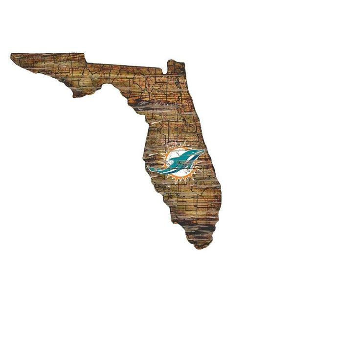NFL Miami Dolphins State Shape Logo Sign