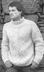 "Men's Pullover Irish Knit = FREE PATTERN in sizes 36""-38"" up to 44""-46"""