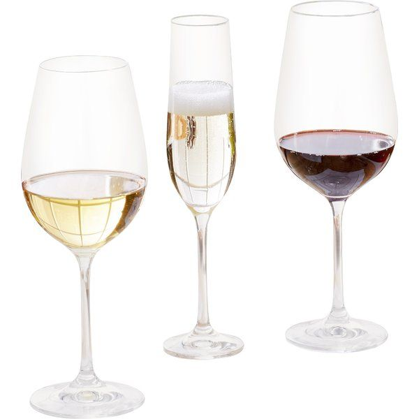 Prepare for every party - and every celebratory toast - with the Wayfair Basics 18 Piece Wine and Champagne Glass Set. This versatile assortment includes six red wine glasses, six white wine glasses, and six fluted champagne glasses to accommodate the preferences of you and your guests. The hardest part will be deciding on what to drink!