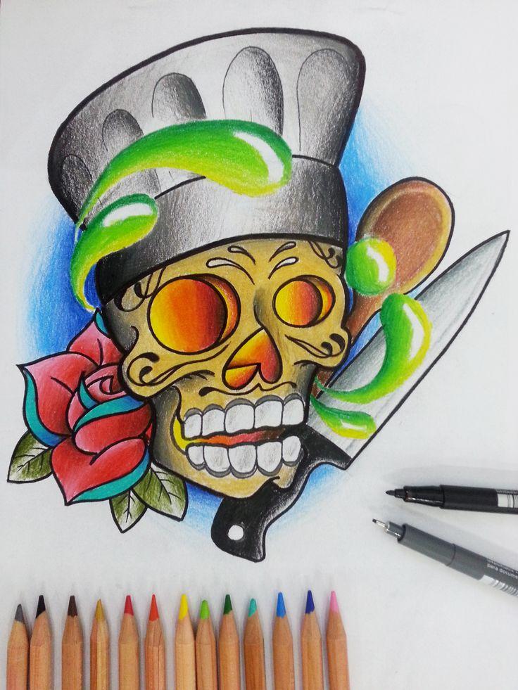 #skull #chef #skullcandy #cucina #cartoon #sketch #sketchcartoon #flash #drawing #illustrationi #disegni #arte #flashtattoo #illustrationitattuaggi #tattoo #tatuaggi #mrjacktattoo