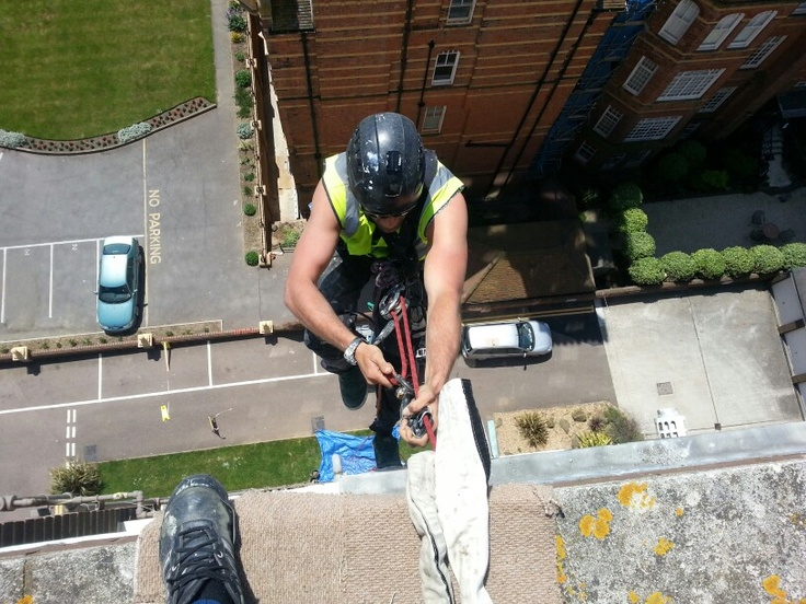 Sunny day rope access in Hove.