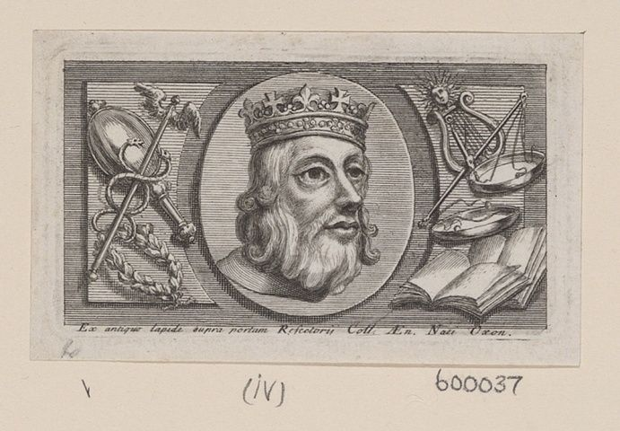 Engraving of Alfred the Great, King of Wessex, King of the Anglo-Saxons. Bust length with curled hair, beard, crown, and mantle. Within an oval border surrounded by ornaments. Royal Collection Trust/© Her Majesty Queen Elizabeth II 2016