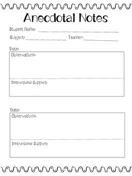 I created this template to help teachers take meaningful, in the moment anecdotal notes on their students. This template provides a space for observations and a place for instructional decisions based on the observations. This formative assessment is quick, easy and can be done throughout the year to keep track of student progress.