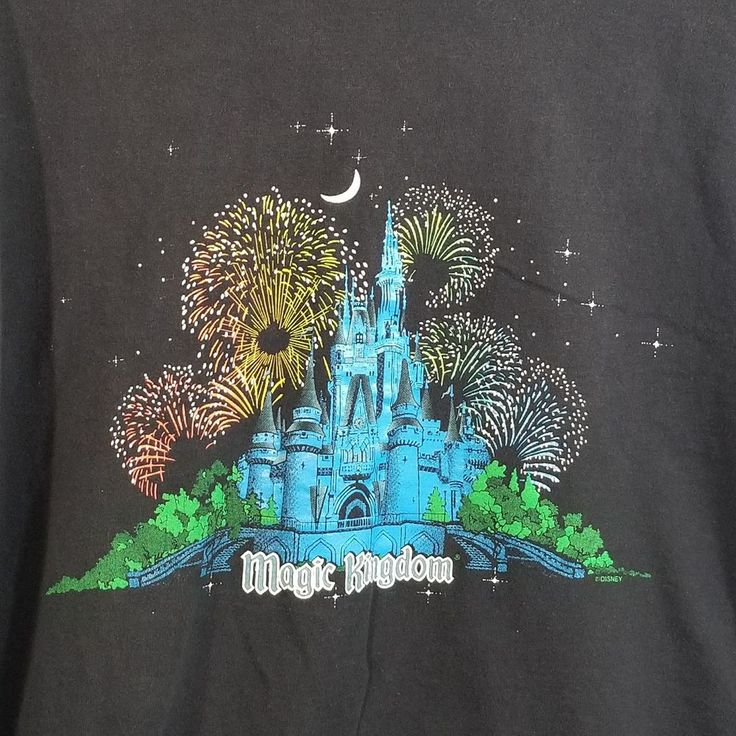 Disney Magic Kingdom Shirt XL Black Castle Fireworks Stars Moon #Disney #eBayROCteam