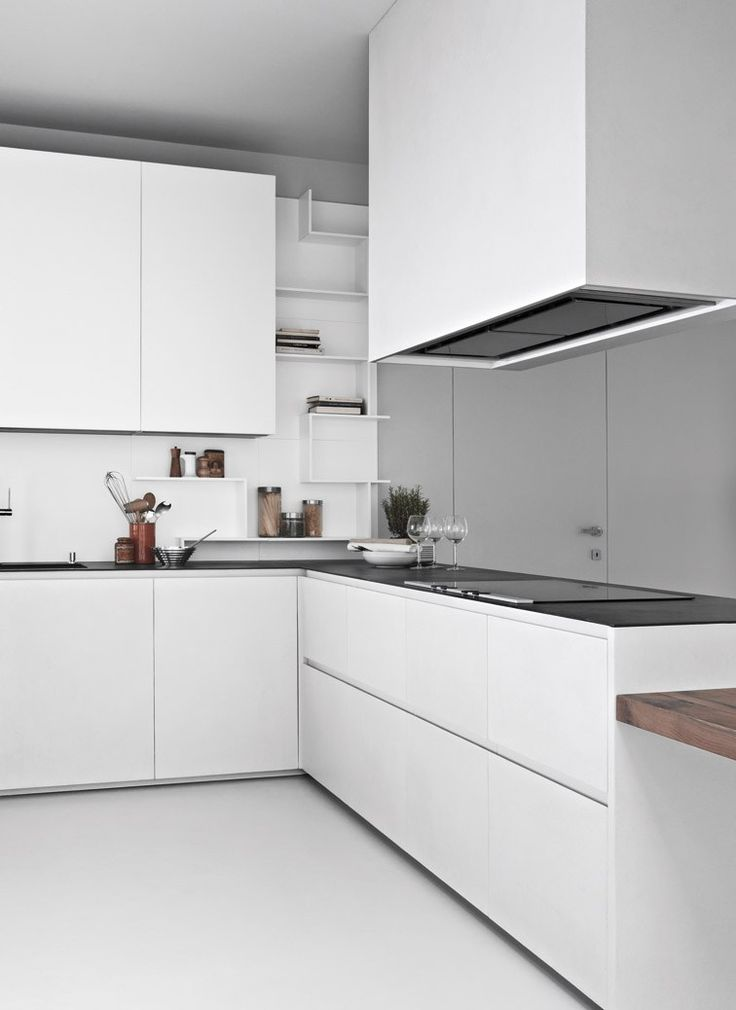 Concrete resin kitchen with peninsula LINE K | @zampiericucine