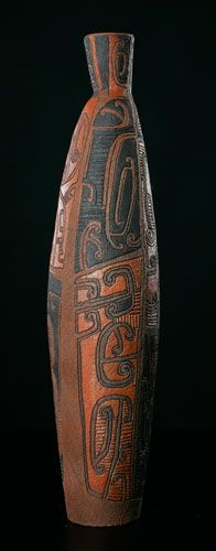 Ipu Kowhaiwhai • Scroll Work Vessel by Wi Te Tau Pirika Taepa, Māori artist (KX50905)