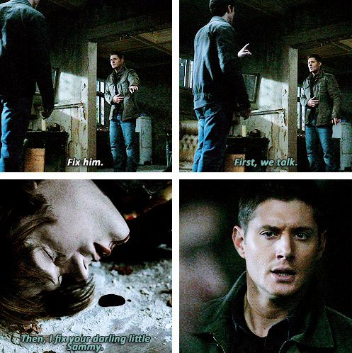 """5x13 The Song Remains The Same [gifset] - """"First, we talk.  Then I fix your darling little Sammy."""" - Michael, Sam & Dean Winchester, Supernatural - Matt Cohen will always be the archangel Michael to me more than young John Winchester, he killed this scene."""