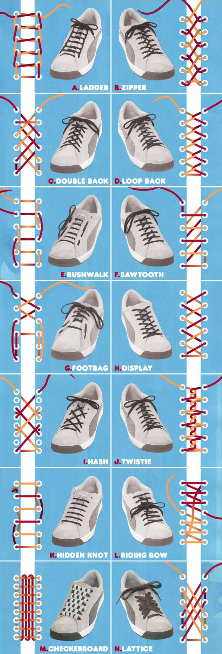 ways to tie laces