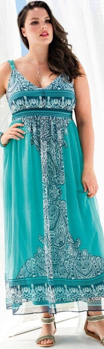 Plus size long summer maxi dress casual turquoise paisley - https://www.boomerinas.com/2014/08/13/summer-dresses-and-tops-in-plus-sizes-2014-styles/