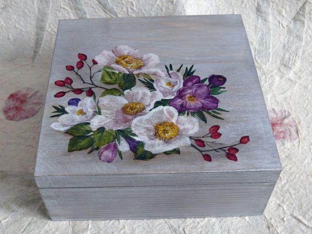 Dekupaj Kutular, Süslü kutular, Çiçeklerle süslenmiş tahta kutular, Boyama kutular, Takı kutuları, Tahtadan yapılmış takı kutular, El sanatları, Hobby, süslü tahta kutular