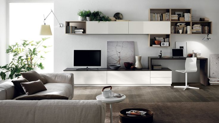 | Scenery #living area composition with a focus on contrasting gaps and solid units, geometrical lines and minimalist styling |