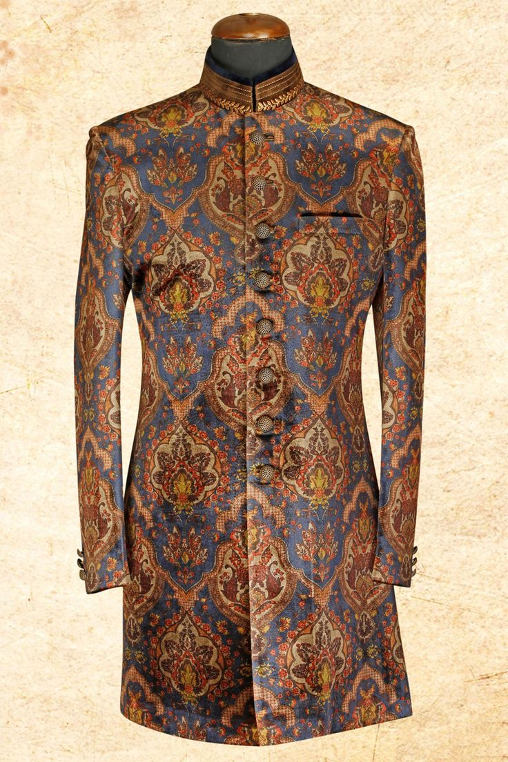 #Blue multicolor noble #velvet sherwani with bandhgala-IW626