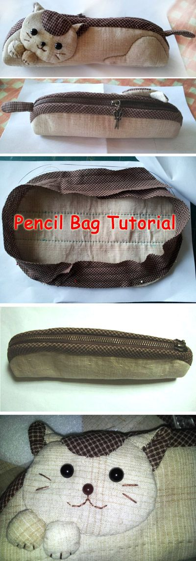 How to make kitten pencil bag step by step DIY tutorial instructions with pattern. Как сделать сумочку-котенка (пенал), инструкции, DIY учебник.  http://www.handmadiya.com/2015/08/cat-pencil-case.html