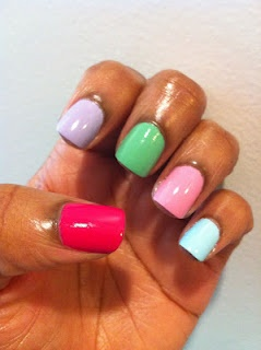 Skittle mani!  Click thru to see what polishes I used.
