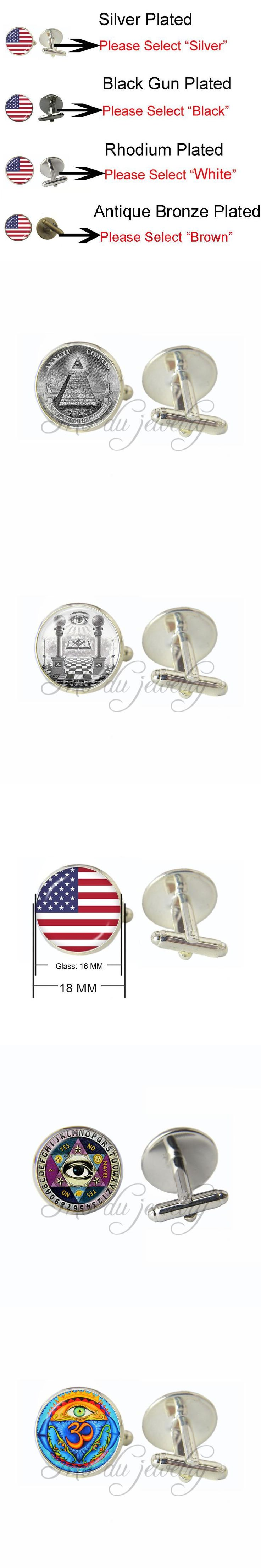 Drop Shipping Theory Photo Glass Cuff Button Freemason Sign Illuminati Secret Masonic Cufflinks Conspiracy Eye of Providence Men