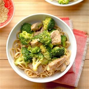 Broccoli-Pork Stir-Fry with Noodles Recipe -I combined several recipes to come up with this one that my family loves. It is not only quick and delicious but healthy. I sometimes substitute boneless, skinless chicken breasts for the pork. —Joan Hallford, North Richland Hills, Texas
