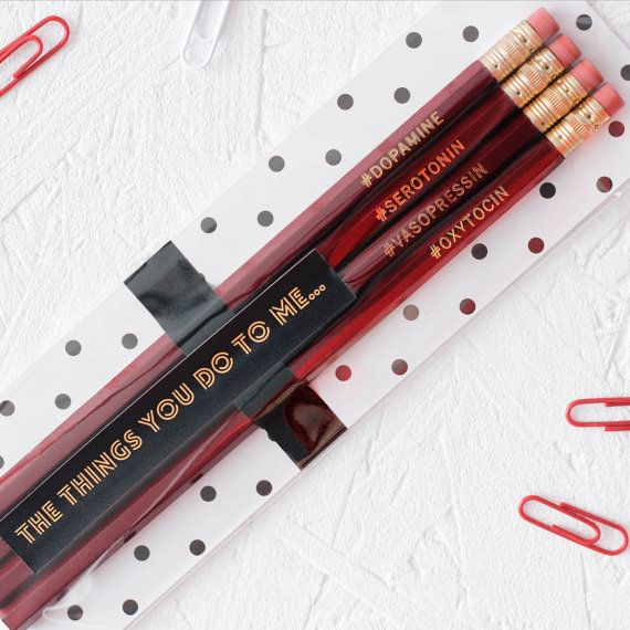 The Things You Do To Me HORMONE Hashtags Pencil Set. Red Stationery Valentines Gift For Him Her Anniversary Funny Science Card Alternative