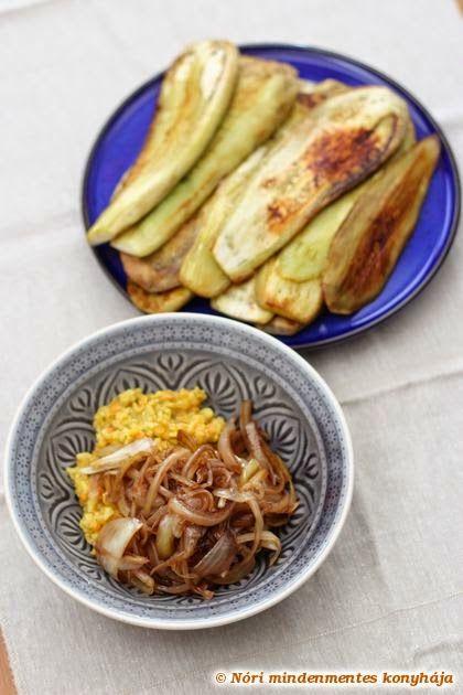 Nóri mindenmentes konyhája: Színes lencse karamellizált hagymával és grillezett padlizsánszeletekkel (vegán)