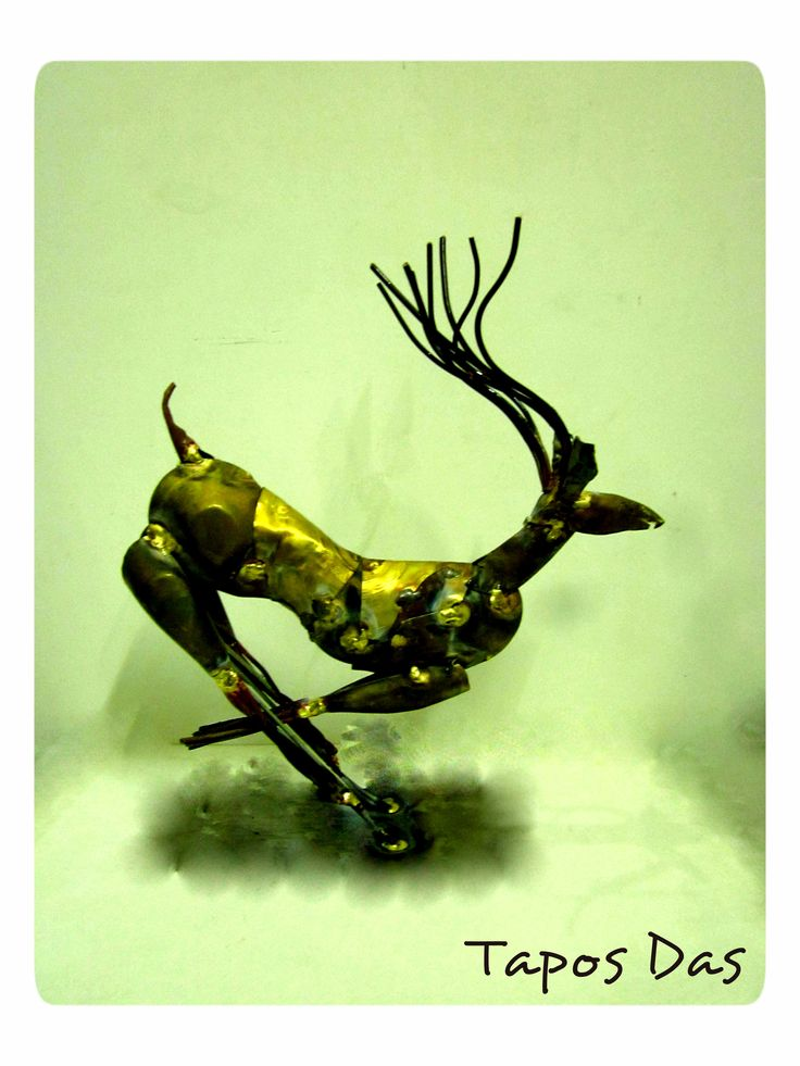 """ সোনার হরিণ "" NEW EXPERIMENT ON METAL _________________________ My Metal Plate Sculpture Size : 12"" X 11"" Date : 05.12.14"