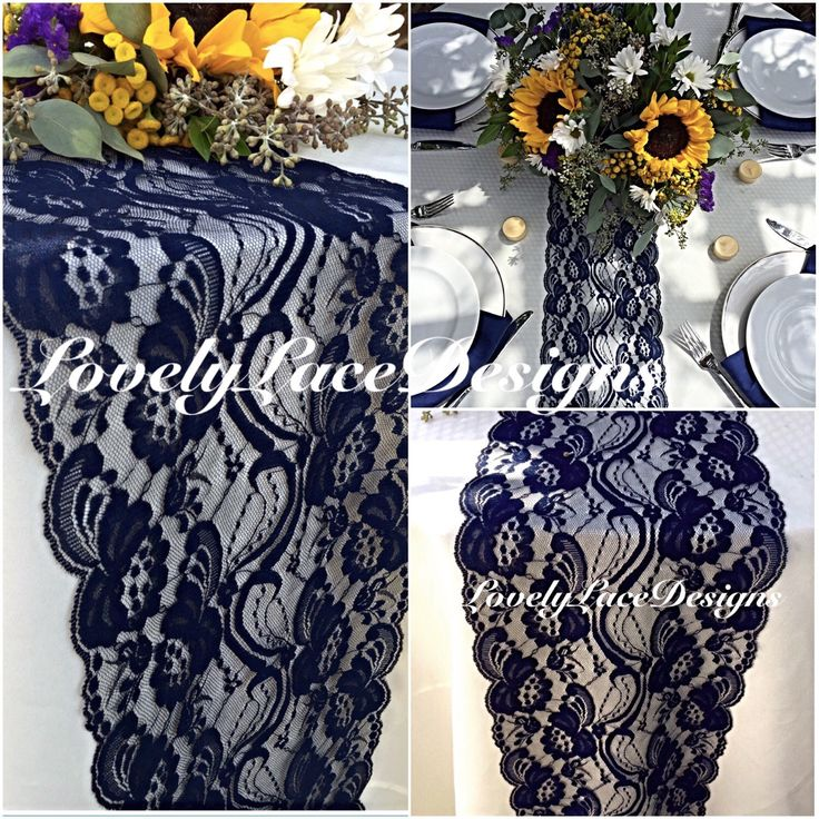 NAVY BLUE Lace/Table Runner/3ft -10ft long x 7in wide/Wedding Decor/Table Decor/NAVY/Centerpiece/Weddings//Ends Cut not sewn/Free Runner by LovelyLaceDesigns on Etsy https://www.etsy.com/listing/160558146/navy-blue-lacetable-runner3ft-10ft-long