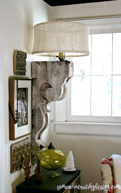 Corbel and burlap lampshade lamp, by Somewhat Quirky Design, featured on Funky Junk Interiors