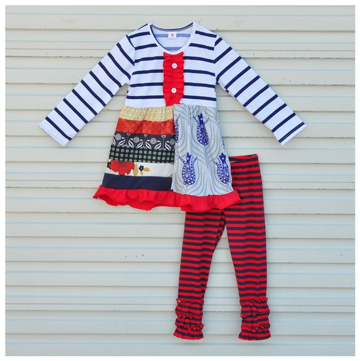 2016 New Design Girls Fall long Sleeve Stripe Baby Clothing Set Mutil Ruffle Pants Wholesale Children's Boutique Outfits F012