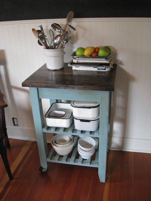 Refurbished IKEA kitchen cart. Want to do this with our bigger one, someday