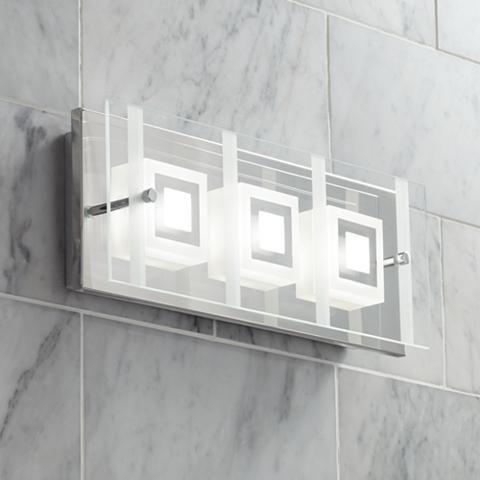 "Reese 15 1/2"" Wide 3-Light Glass LED Bath Light"