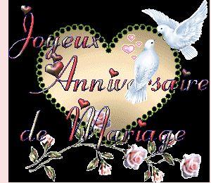 Joyeux Anniversaire de Mariage #anniversairedemariage coeur colombes roses