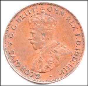 King George V 1934 Australian Half Penny Coin