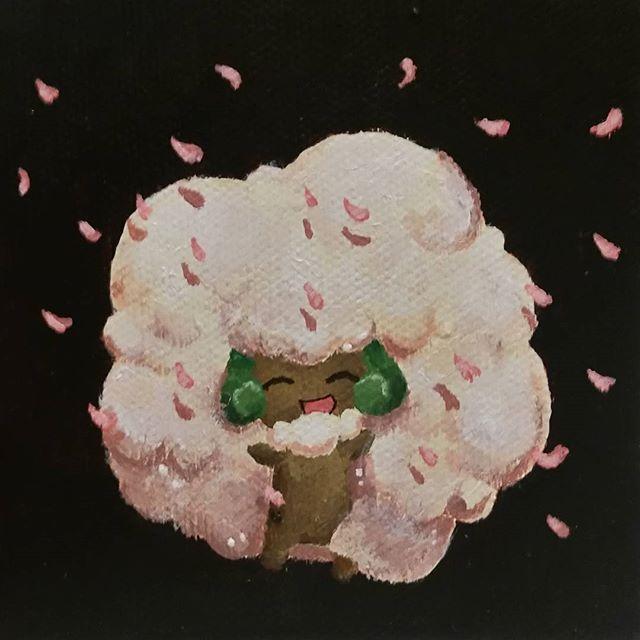 "【torisometimestravels】さんのInstagramをピンしています。 《Birthday present for my boyfriend July '16 on a 3"" x 3"" canvas   #art #paint #painting #cute #artwork #illustration #acrylic #pokemon #whimsicott #fanart #cherryblossoms #sakura #green #cotton #fluffy #fun #happy》"