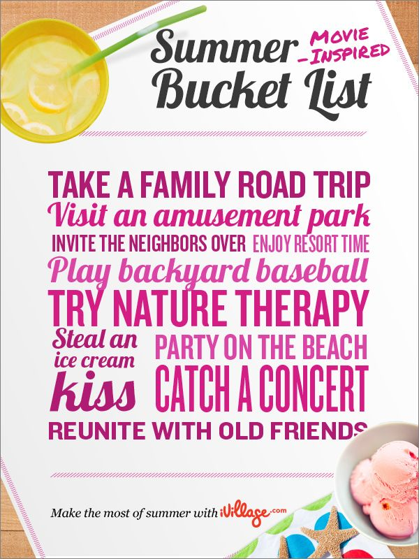 Take notes from your favorite movies and act out your favorite scenes this summer. http://www.ivillage.com/summer-bucket-list-sweepstakes?cid=pin%7Csbl13%7Cs