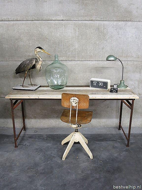 Industriële tafel bureau vintage sidetable Industrial |