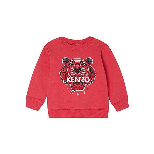 KENZO Tiger jumper 3-36 months (€81) ❤ liked on Polyvore featuring tops, sweaters, red top, crew-neck sweaters, jumpers sweaters, tiger top and embroidered cotton top