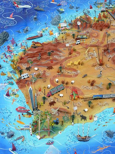 Sara Drake - 3D Illustrated map of Australia - detail of Western Australia - my home state! Mixed media - balsa wood, paper, card, beads and wire. All the features are hand carved and painted.