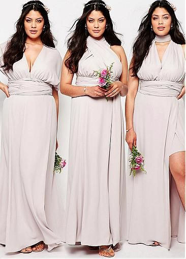 Popular Spandex V-neck Neckline Convertible Plus Size A-line Bridesmaid Dresses